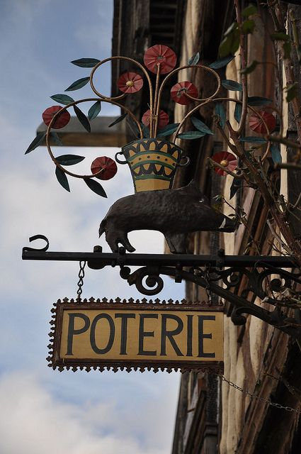 shop sign #pottery in Noyers-sur-Serein, France