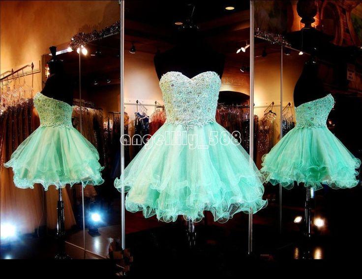 Green heartshape ball gown beads Graduation Dresses
