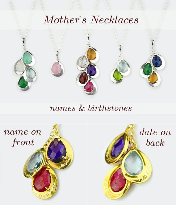 Kids Name Necklace For Mom Mothers Family Tree And Birthstone Personalized Jewelry Mother S Day Gift