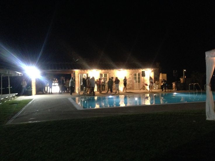 Wedding reception - night party with music by the pool