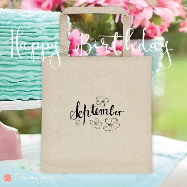 September Birthday Tote Bag – 100% Cotton – Printed Front and Back #fashion #september  #birthday #happybirthday #tote #totebag #printed #pencildrawing