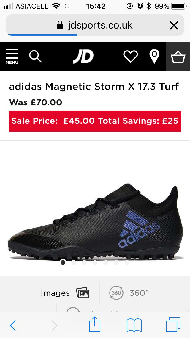 Adidas magnetic storm x 17.3 turf shoes  Size 10, JD sports