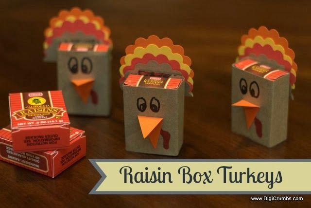 Raisin Box Turkeys - Cute Thanksgiving Preschool Class Snack