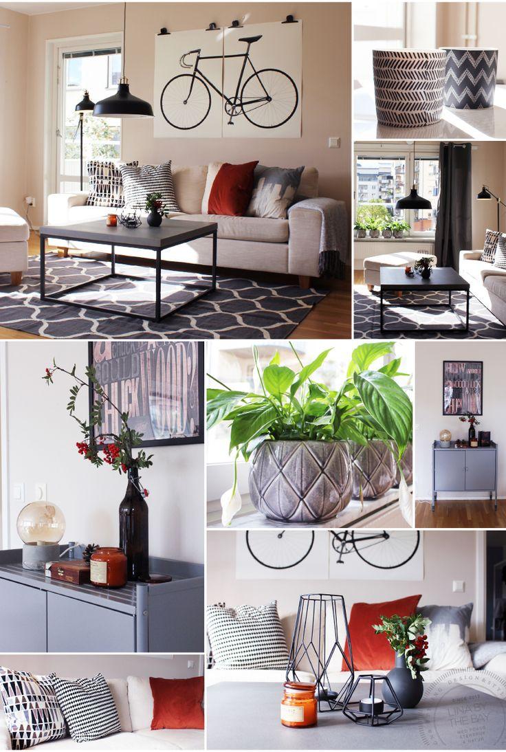 Stylinguppdrag, vardagsrummet efter styling i lägenhet på Södermalm i Stockholm.    Se alla bilder från omgörningen från Indisk stil till modernt, maskulint och hemtrevligt.
