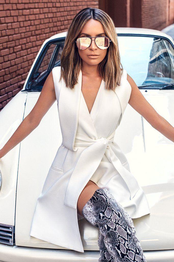 Quay Australia - X Desi Perkins Gunmetal And Rose Gold Mirror High Key Designer Sunglasses