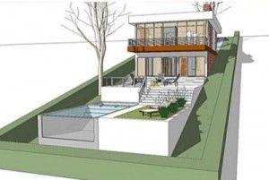 fachada de casa terreno en pendiente