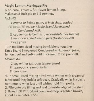 "Borden's Eagle Brand Magic Lemon Meringue Pie | Arlene Turner | Pies | This is from an archive of Borden Eagle Brand Magic Recipes copyrighted in 1964.  My mother had the condensed milk label with the recipe on it in her recipe box.  My father's mother always called it Lemon Ice Box Pie so that's the name we called it growing up.  This was Dad's traditional birthday ""cake"". http://archive.lib.msu.edu/DMC/sliker/msuspcsbs_borc_nycondense50/msuspcsbs_borc_nycondense50.pdf"