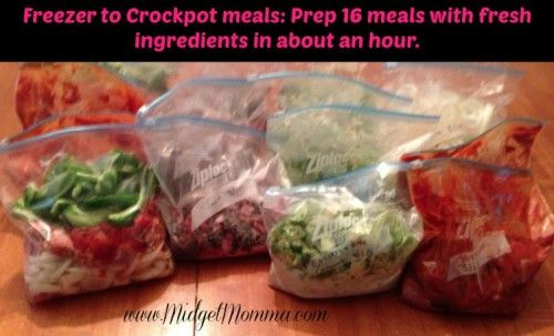 How to prep 16 meals for your crockpot in about an hour! Makes it super easy with meals on busy school nights!