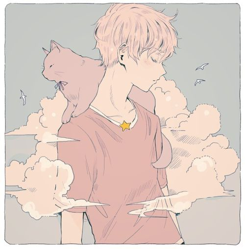 anime, art, pastel, cat, soft, kawaii, clouds, and boy image