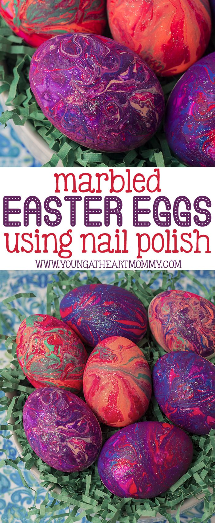 Take your Easter egg decorating skills to the next level by using nail polish to create colorful marbled patterns & swirls! #IceAgeEaster #ad