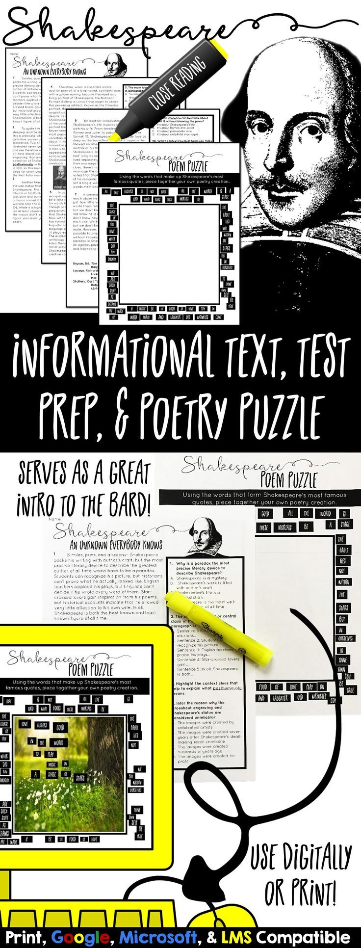 Shakespeare informational text, test prep, close reading, and poem puzzle. Introduce William Shakespeare while also practicing for standardized tests and close reading skills!