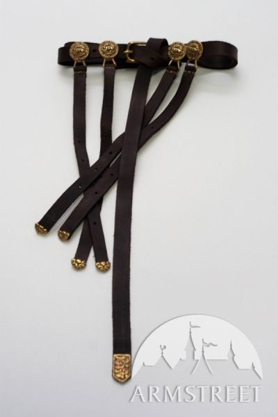 Hadmade exclusive medieval leather mongol long belt with casting accents for sale