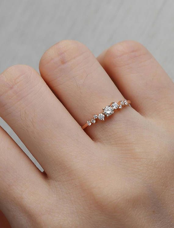 Diamond Cluster Ring Twig Engagement Ring Rose Gold Mini Floral