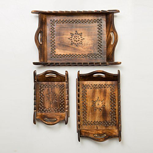 It is never too early nor too late to renovate your kitchen, and there can be nothing better and trendier than including some rustic items in your kitchenware collection. Rusticity's Wood Serving Trays are handcrafted out of a single block of wood by traditional artisans from rural India... see more details at https://bestselleroutlets.com/home-kitchen/kitchen-dining/dining-entertaining/serveware/product-review-for-rusticity-wood-serving-tray-set-of-3-antique-mesh-work-h