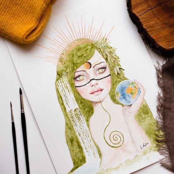 Impression Aquarelle Pachamama Terre Mere Gaia Affiche Deesse