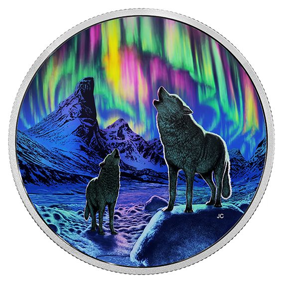 2 oz. Fine Silver Glow-in-the-Dark Coin – Northern Lights in the Moonlight – Mintage: 4,000 (2016)
