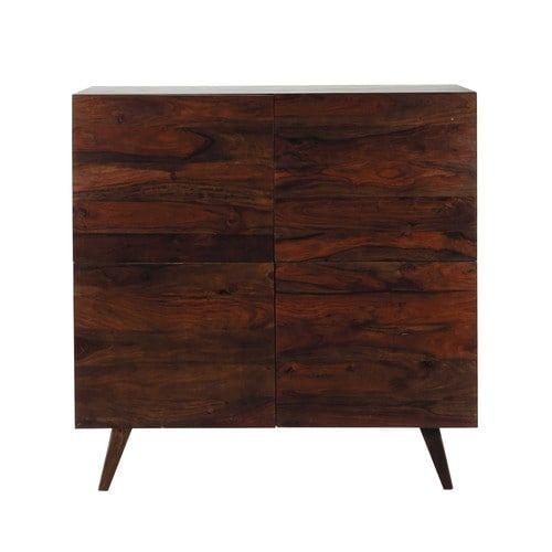 Credenza alta vintage in massello di legno di sheesham scuro L 120 cm