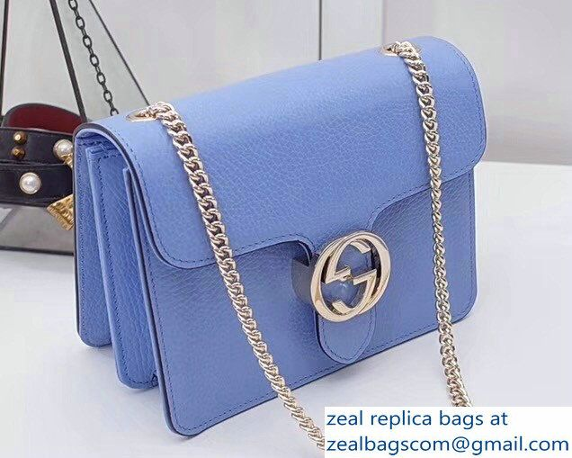 f74d890f311d Gucci Interlocking G Buckle Chain Leather Shoulder Small Bag 510304 Sky  Blue 2018