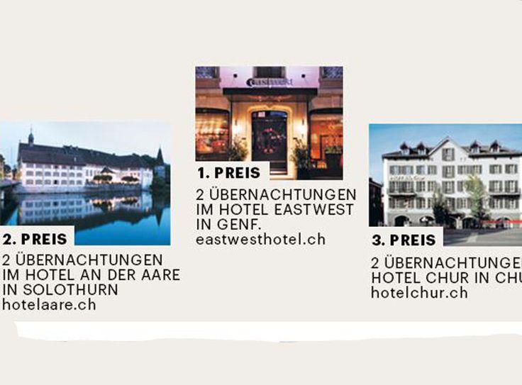 Gewinne im aktuellen Charles Vögele Wettbewerb 2 Übernachtungen im Hotel East West in Genf, Hotel an der Aare in Solothurn oder Hotel Chur in Chur!  Hier gewinnen: www.gratis-schweiz.ch/gewinne-2-uebernachtungen-genf-solothurn-oder-chur  Alle Wettbewerbe: www.gratis-schweiz.ch