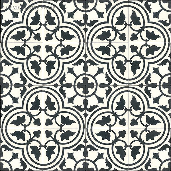 Cement Tile Shop - Encaustic Cement Tile Roseton White This would be very pretty in gray/white