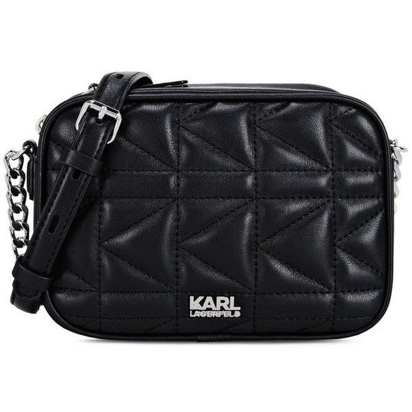 Karl Lagerfeld K/Kuilted Small Crossbody (€230) ❤ liked on Polyvore featuring bags, handbags, shoulder bags, black, leather messenger bag, crossbody purses, leather cross body purse, leather cross body handbags and leather shoulder handbags