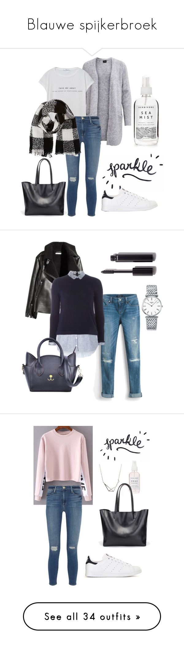 """Blauwe spijkerbroek"" by ghuus15 ❤ liked on Polyvore featuring Herbivore, adidas, MANGO, Frame, Barneys New York, H&M, White House Black Market, Dorothy Perkins, Handle and Chanel"