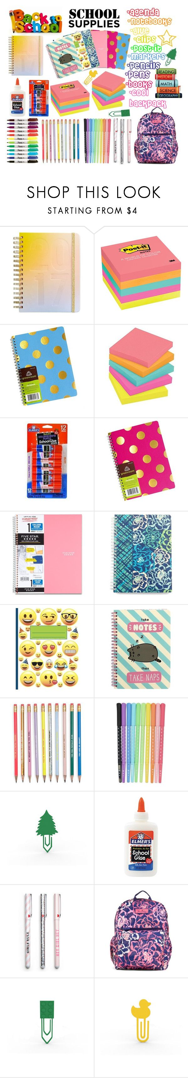 """school supplies"" by slatka-lamija ❤ liked on Polyvore featuring interior, interiors, interior design, home, home decor, interior decorating, ban.do, Post-It, Vera Bradley and Pusheen"