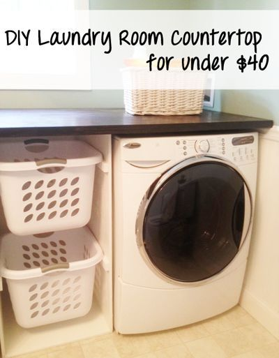 "Small laundry room | I like the side basket bin - could be cute w/a ""curtain"" hanging in front of it to hide the clothes"