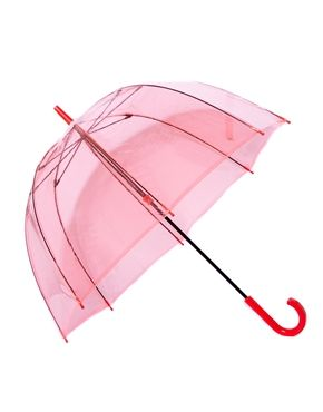 Pink transparent bird cage style big umbrella