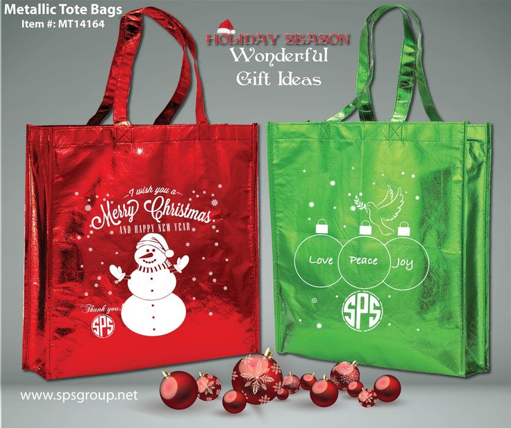 Metallic Tote Bags, custom printed. Make the holidays shine. Metallic Tote Bags available in 6 fun metallic colors. Stand out in a crowd with these shiny totes with large imprint area to display your brand or message. Great for events, brand marketing, gifts, promos, trade shows, giveaways, shopping, markets, book stores and so much more. Reusable and recyclable. Available Colors (Metallic): Colors: Blue, Copper, Gold, Green, Red or Silver