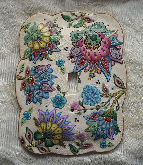 Polymer Clay switch plate. So beautiful!!