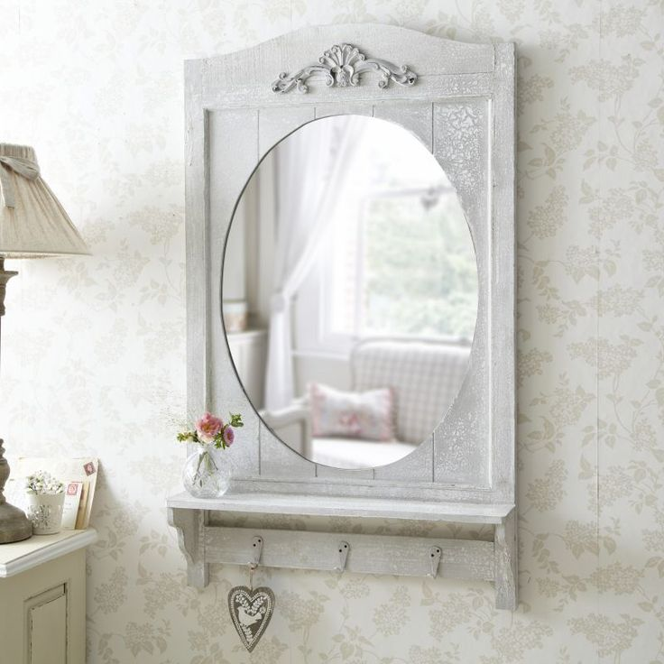 Rustic bathroom mirror with shelf