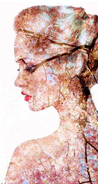 portrait of a spring woman, beautiful face female enjoying cherry blossom, dreamy girl with pink fresh flowers outdoor, seasonal nature, tree branch and glamorous lady          #DoubleExposure, @TaniaAmrein