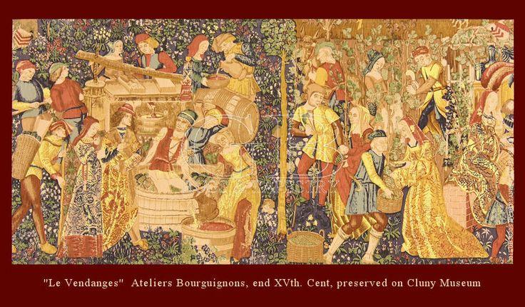 """ARAZZO DE RAMBOUILLETcm 148 x 288ft 4'9 x 9'4 Cod:: 141336465967Provenienza: ITALIAEtà: NUOVONodi/dmq: 0 Lavorazione: Policroma manoOrdito: LINO/COTONETrama: LANA Arazzo """"Les vendanges"""", Ateliers Bourguignons, fine XV sec., conservato presso il Museo di Cluny, Parigi."""