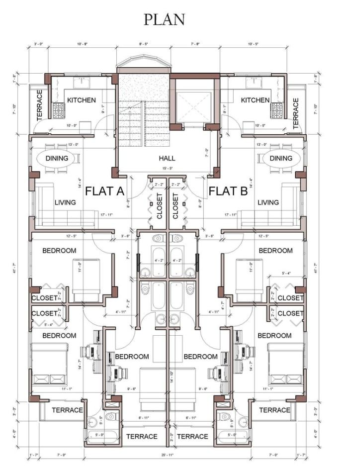 Draw Floor Plan On Autocad And Revit Architectural Floor Plans