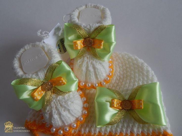 ручной ВЯЗАНАЯ / крючком Baby шапочка и пинетки / комплект in Одежда, обувь и аксессуары, Одежда для малышей, Одежда для девочек (новорожденные-5Т) | eBay