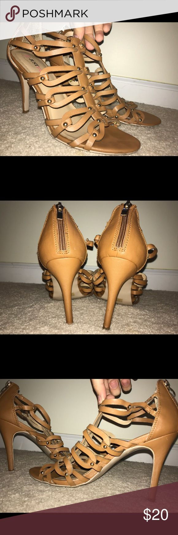 Tan Heels Tan with gold accentuated details. Features a zipper close. PERFECT for prom coming up!! These are comfy. They are not good for wide feet. Pair these with virtually anything! Worn three times. Good quality and condition! Comes from a non-smoking and pet free home. *final price, no I don't trade; if you want to save $, use my bundle discount* Just Fab Shoes Heels