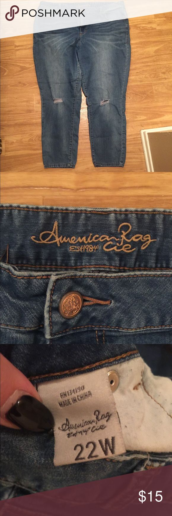 American Rag Jeans Super comfy and super soft denim! American Rag jeans with distressed knees in a size 22W   These jeans have been worn a handful of times and have a lot of wear left in them. I'm currently in a weight loss journey and am going through a TON of clothes, a lot of them is excellent condition! American Rag Jeans