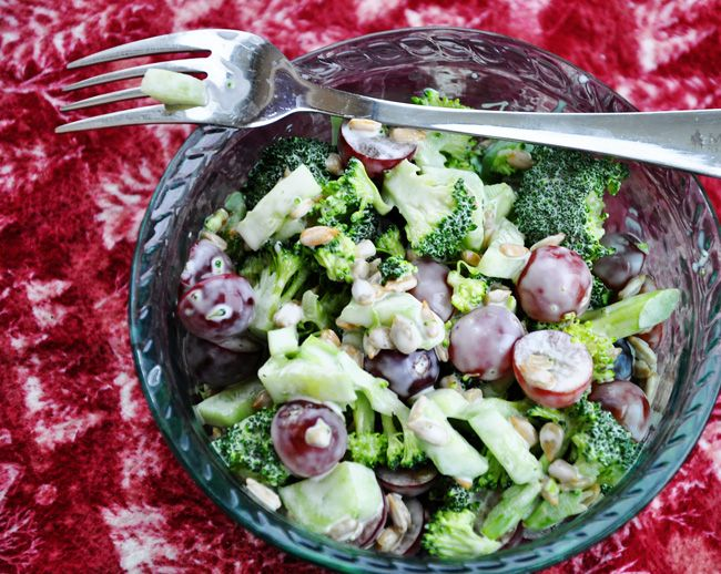 Perfect side dish to a hearty winter meal, or a meal-in-itself on a warm day. Broccoli, grape  & bacon salad. So yummy! My Stable Life (blog)