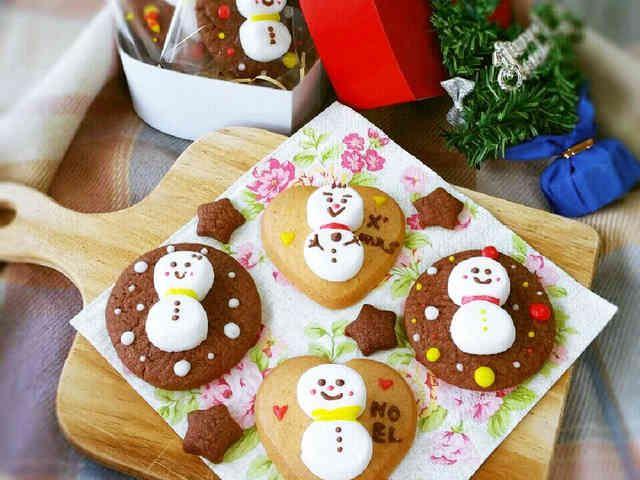 クリスマスに♥マシュマロ雪だるまクッキーの画像