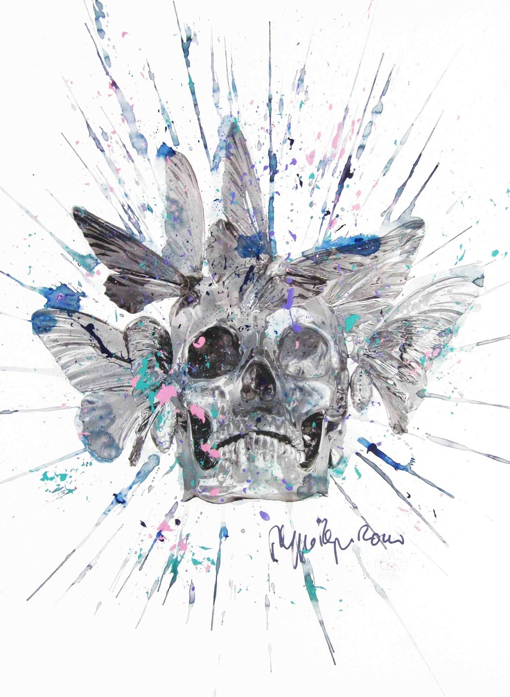 Philippe Pasqua - Vanité aux papillons - Technique mixte sur papier - 100 x 70 cm - 2010