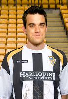 Robbie Williams – Port Vale Contrarily to what some believe, that Robbie Williams supports a London-based club, he's made it very well known that he's obsessed with his home town, Stoke-on-trent based, club. His father was a licensee of Port Vale F.C  Social club, which obviously led to Williams becoming a huge fan.