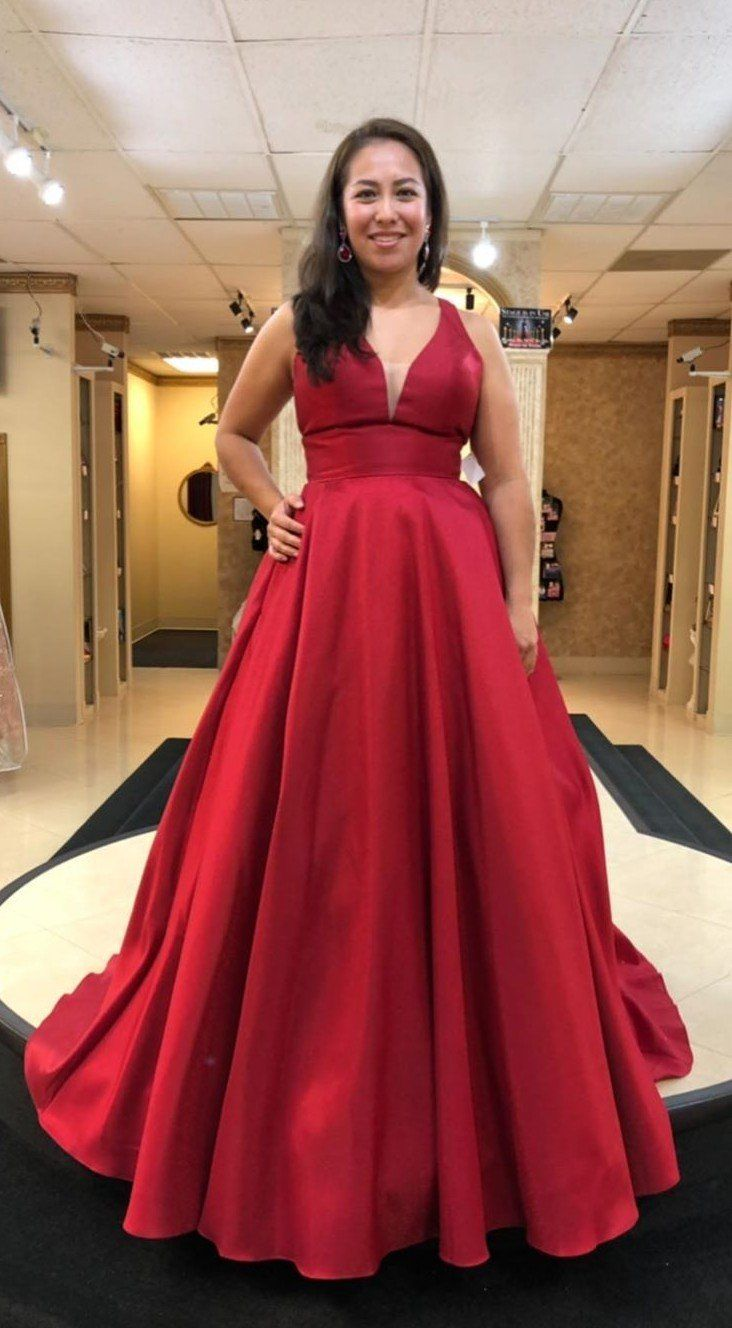 Long V-neck Plus Size Deep Red Prom Dress in 2019 | Dresses ...