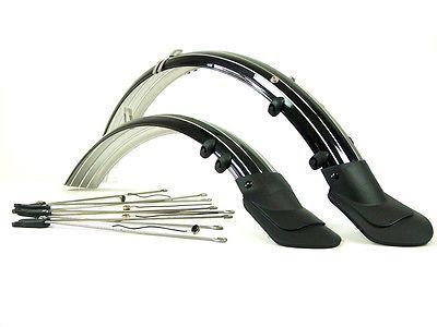 2x-Fahrrad-Schutzblech-schwarz-20-24-26-28-Zoll-fuer-Lichtanschluss-schwarz