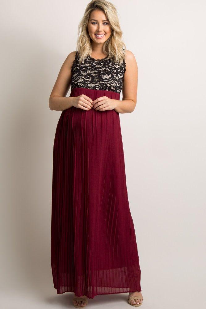 7e4282bee65 Burgundy Pleated Chiffon Lace Top Maternity Maxi Dress