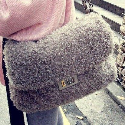 FLYING BIRDS 2012 winter fashion plush velvet bag faux fur bag shoulder bag chain women's handbag HAB043 $28.57