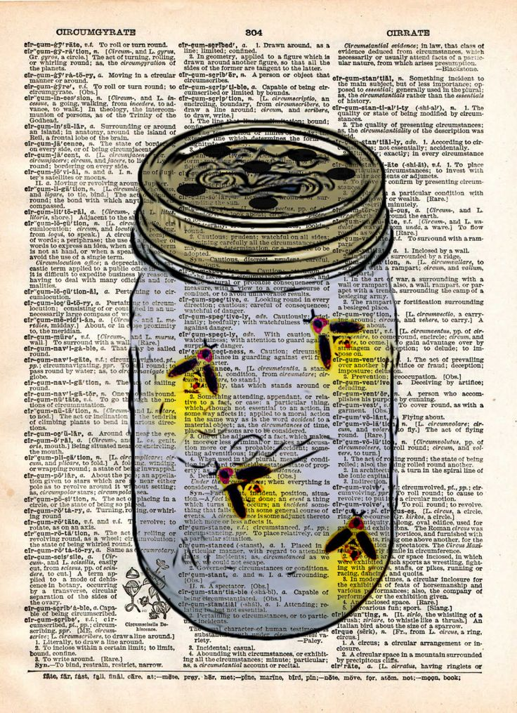 Firefly art, mason jar artfireflies in mason jar, childrens art, vintage dictionary art print