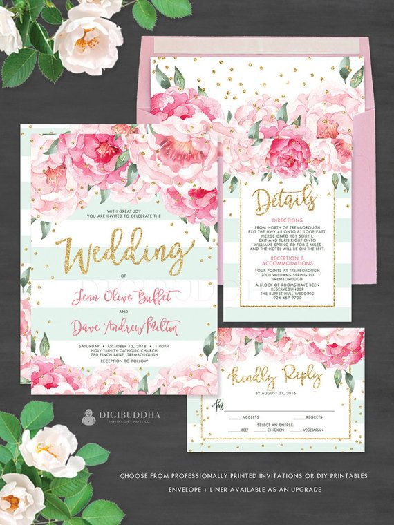Gorgeous Floral Wedding Invitation Suite | 3 Pc Mint & Pink Wedding Invitation Set- Jenn style. Beautiful blush pink watercolor florals and gold glitter confetti details with modern calligraphy. Matching day-of stationery and accessories also available at digibuddha.com
