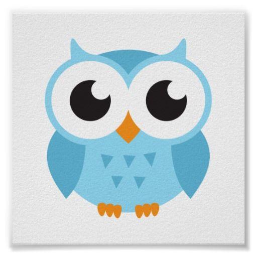 Cute Cartoon Owls | Cute blue cartoon baby owl poster - Zazzle.com.au