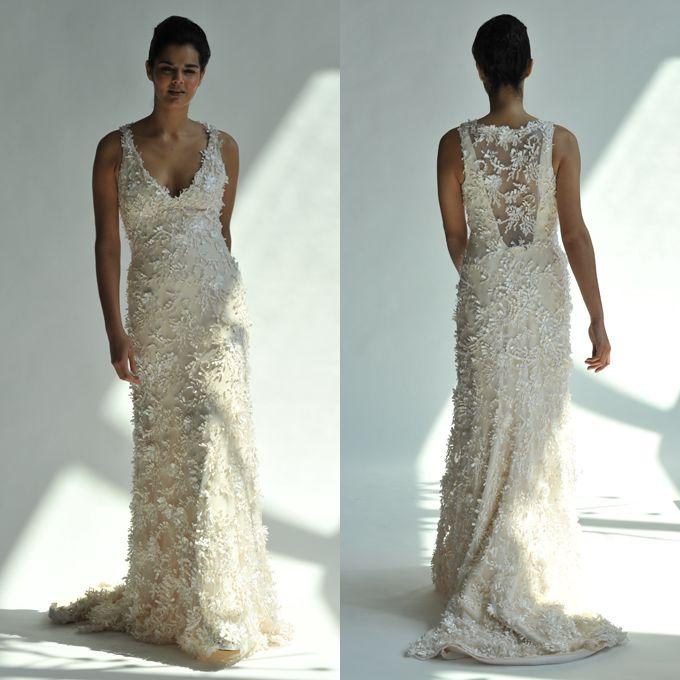 Open-Back Wedding Dress: Junko Yoshioka Laguna, $8,910, Junko Yoshioka